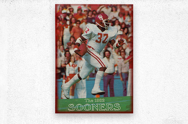 1982 oklahoma sooners retro college football poster  Metal print