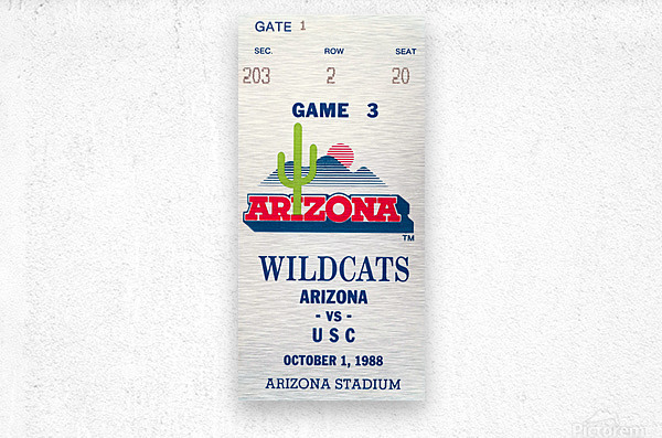 1988 arizona wildcats football vintage ticket stub canvas art  Metal print