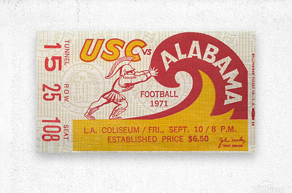 1971 alabama usc trojans football ticket stub prints on wood  Metal print