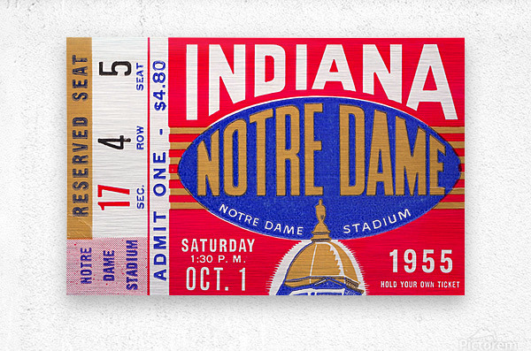 1955 indiana notre dame football ticket stub wall art canvas posters wood  Metal print