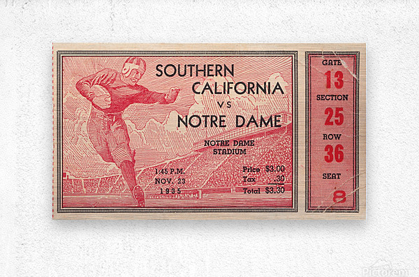 1935 Notre Dame Irish USC Trojans College Ticket Stub Art  Metal print