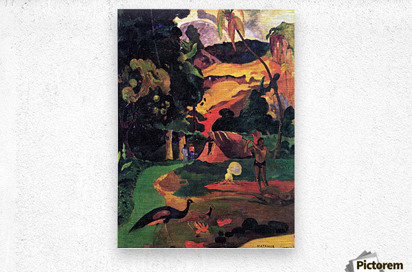 Landscape With Peacocks by Gauguin  Metal print