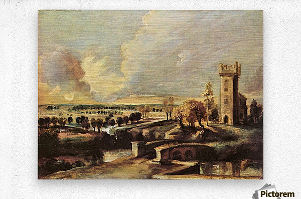 Landscape with the tower of the castle Steen by Rubens  Metal print