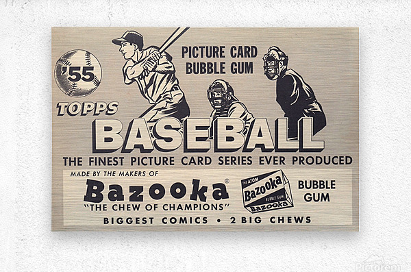 1955 Topps Baseball Bazooka Bubble Gum Vintage Metal Sign  Metal print