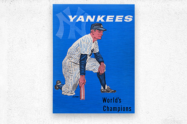 1958 New York Yankees Vintage Baseball Art  Metal print