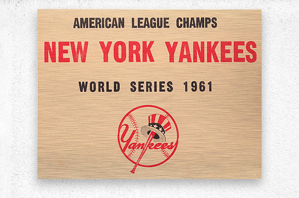 1961 New York Yankees World Series Wooden Baseball Prints  Metal print