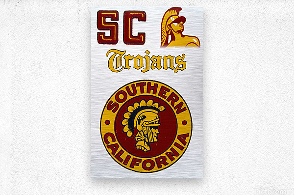 1954 USC Trojans Vintage College Art Poster Collection  Metal print