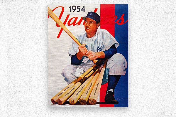 1954 new york yankees vintage baseball art  Metal print