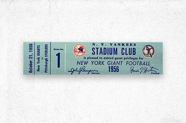 1956 new york giants football ticket stub reproduction print  Metal print