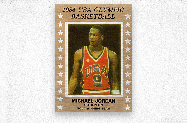 1984 usa olympic basketball gold medal michael jordan wood print  Metal print