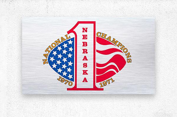 1971 nebraska cornhuskers football national champions poster  Metal print
