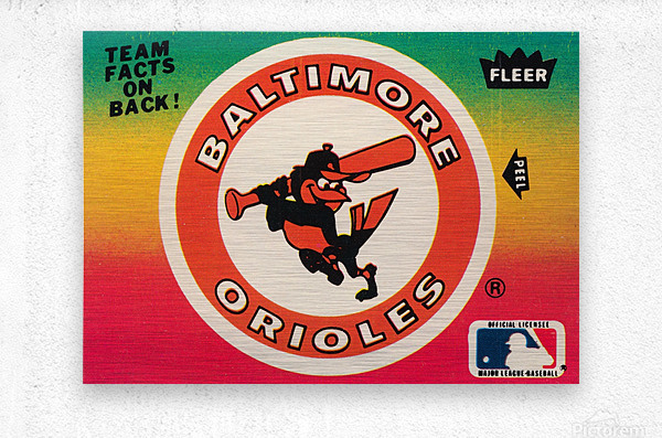 1983 fleer baseball stickers baltimore orioles wood print  Metal print