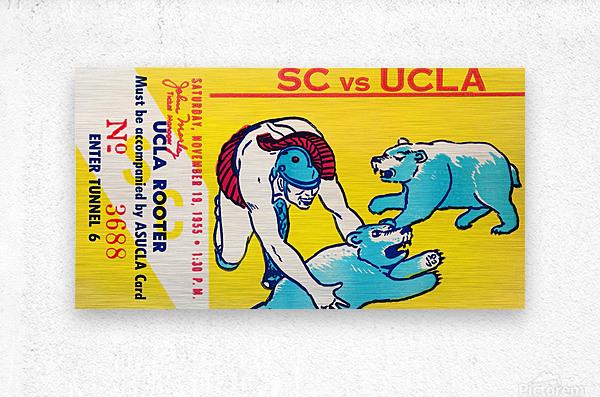 1955 usc ucla bruins rooter college football ticket stub  Metal print