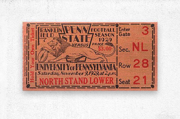 game room decor ideas 1929 pennsylvania penn state ticket canvas  Metal print