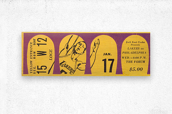 Jerry West 39 points 1968 la lakers nba basketball ticket stub art  Metal print