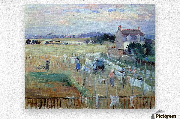 Laundry drying by Morisot  Metal print