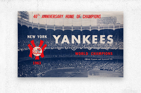 1963 new york yankees world champions scorecard canvas  Metal print