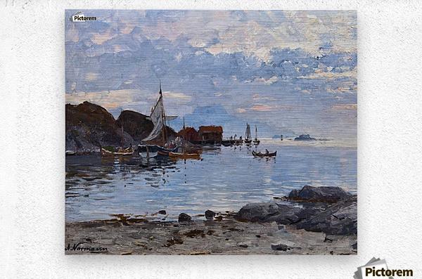 Fishing village in northern Norway  Metal print