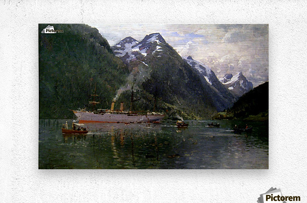 Ship along the fjord  Metal print