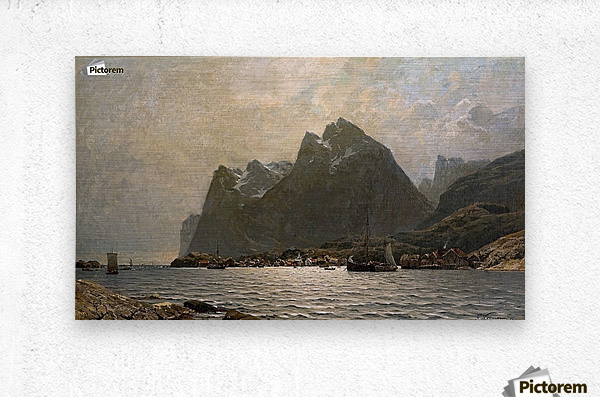 Fjord landscape with ships and figures  Metal print
