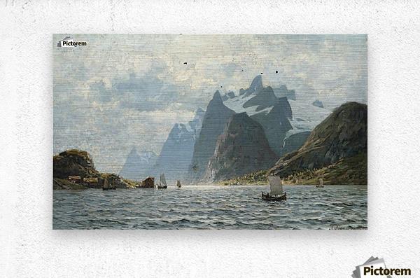 Fishing vessels on a Norwegian fjord  Metal print