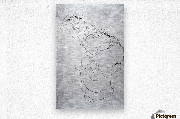 Liegender female over the head with entangled arms by Klimt  Metal print
