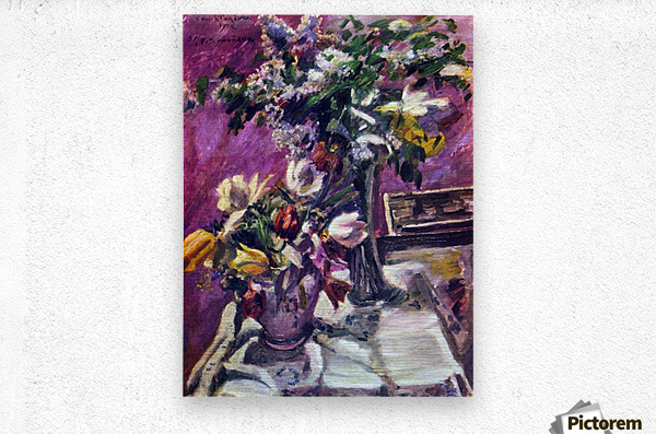 Lilac and tulips by Corinth  Metal print