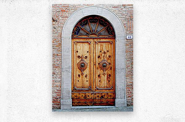 Ornate Wooden Door Citta della Pieve 1  Metal print