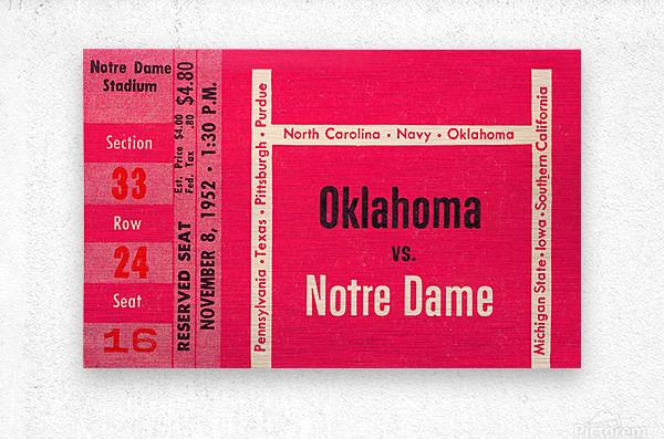 1952 Oklahoma vs. Notre Dame 1st National TV Game  Metal print