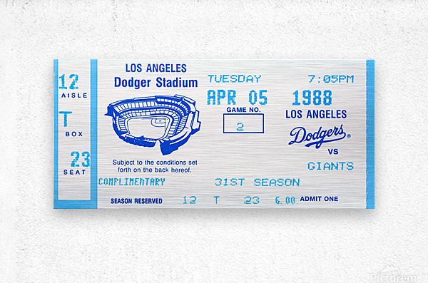 1988 la dodgers giants dodger stadium baseball ticket wall art sports gift  Metal print