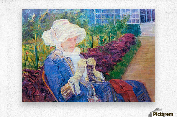 Lydia in the garden of Marly by Cassatt  Metal print