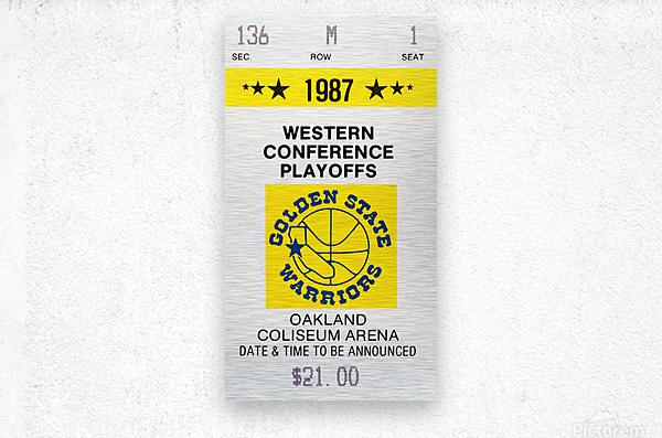 1987 golden state warriors nba basketball ticket art oakland coliseum  Metal print