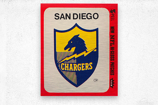 1981 fleer nfl high gloss patch san diego chargers sticker reproduction poster  Metal print