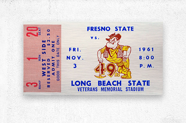 1961 long beach state fresno state football ticket art  Metal print
