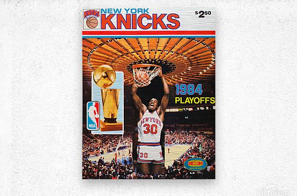 1984 new york knicks nba basketball playoffs bernard king program poster  Metal print