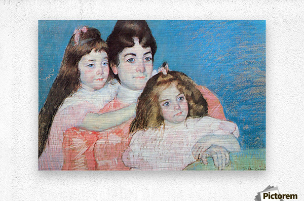 Madame A.F. Aude with her two daughters by Cassatt  Metal print