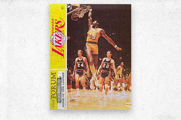 1968 la lakers basketball poster wilt chamberlain dunk photo  Metal print