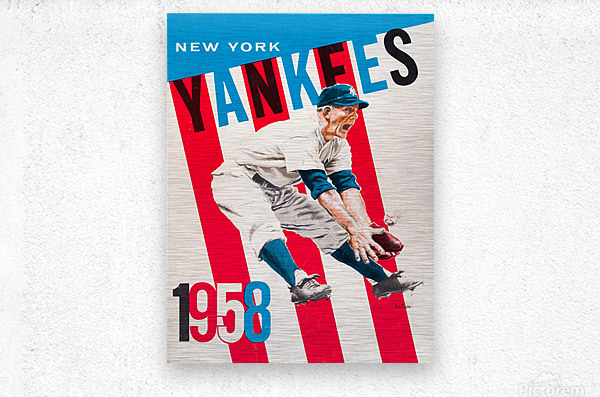 1958 new york yankees vintage baseball art  Metal print