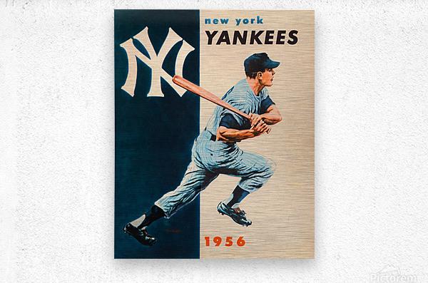 1956 new york yankees vintage baseball art  Metal print