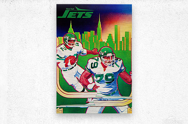 1981 new york jets nyc cityscape football poster  Metal print