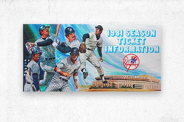 1981 new york yankees baseball season ticket information art  Metal print