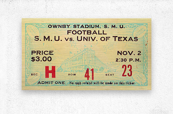 1935 SMU National Champions vs. Texas  Metal print