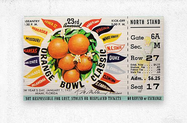1957_College_Football_Orange Bowl_Clemson vs. Colorado_Orange Bowl Stadium  Metal print