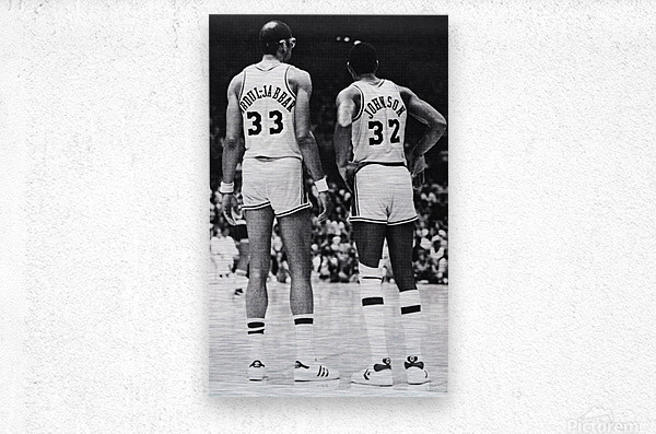 1984 la lakers magic johnson kareem abdul jabbar art  Metal print