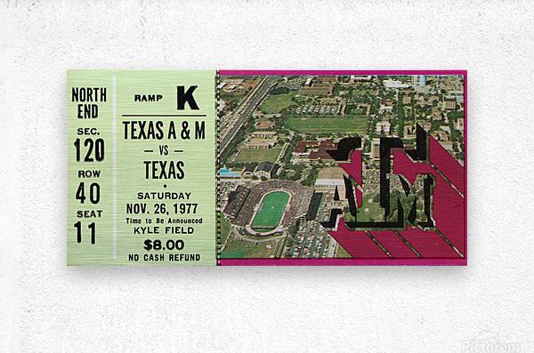 1977 texas am aggies college station football ticket stub wall art  Metal print