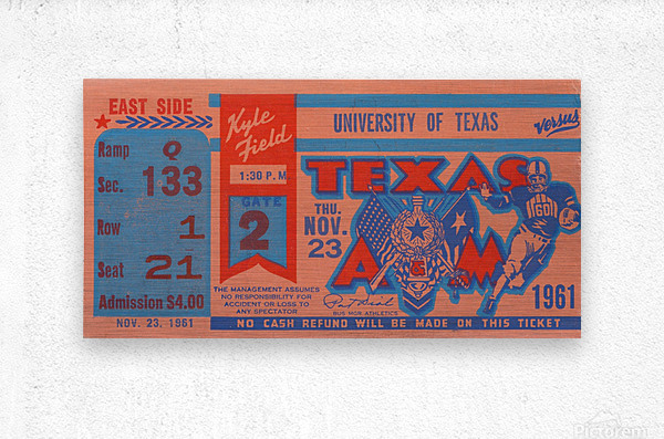 1961 texas am aggies football ticket wall art  Metal print