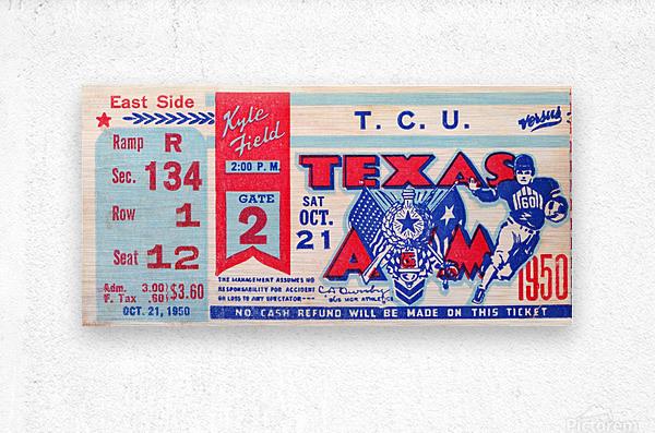1950 texas am aggies tcu football ticket stub art kyle field college station  Metal print