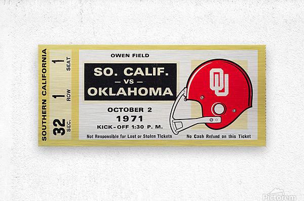 1971 usc trojans oklahoma sooners owen field norman ok football ticket wall art  Metal print