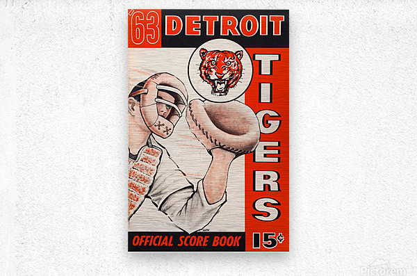 1963 detroit tigers baseball score book canvas art  Metal print