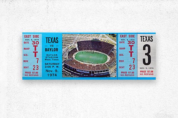 1974 baylor bears texas college football ticket art  Metal print
